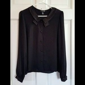 F21 black button up blouse with embellishments